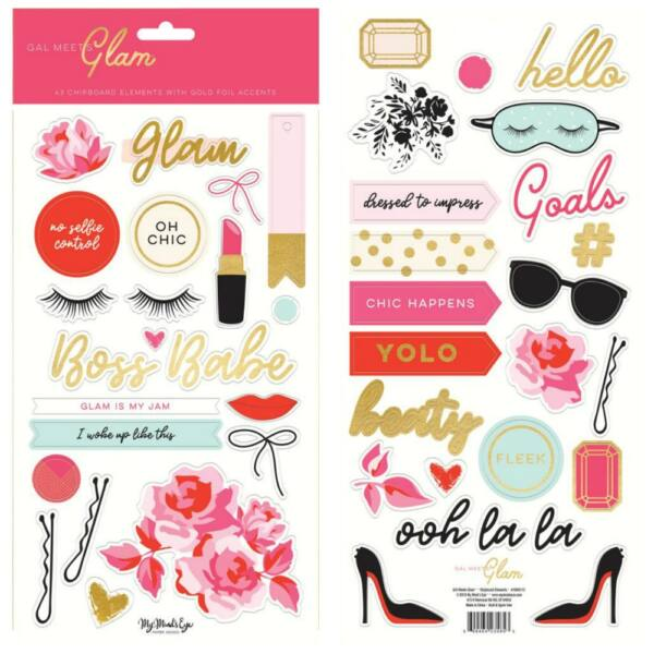 My Mind's Eye - Gal Meets Glam Chipboard (45 pieces)