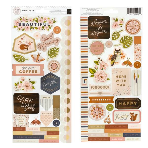 Pink Paislee - Again & Again 6x12 Cardstock Stickers (64 Piece)