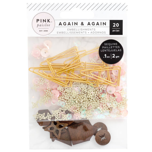 Pink Paislee - Again & Again Sparkle Set - Paperclips & Veneer Shapes & Sequins (128 Piece)