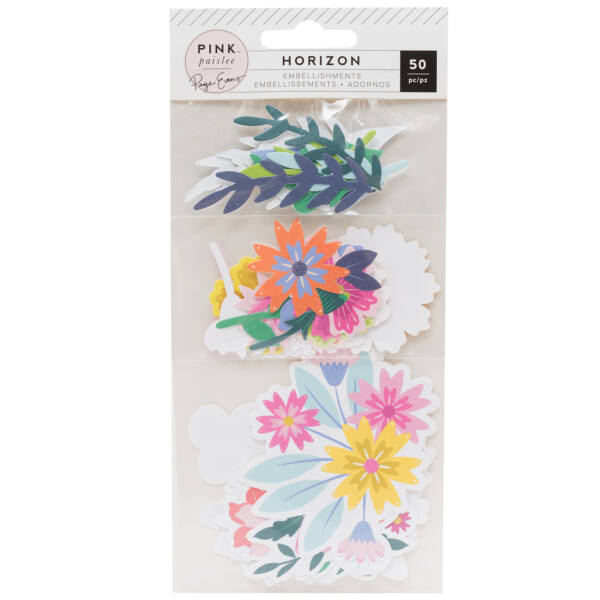 Pink Paislee - Paige Evans - Horizon Mixed Floral Die Cuts (50 Piece)