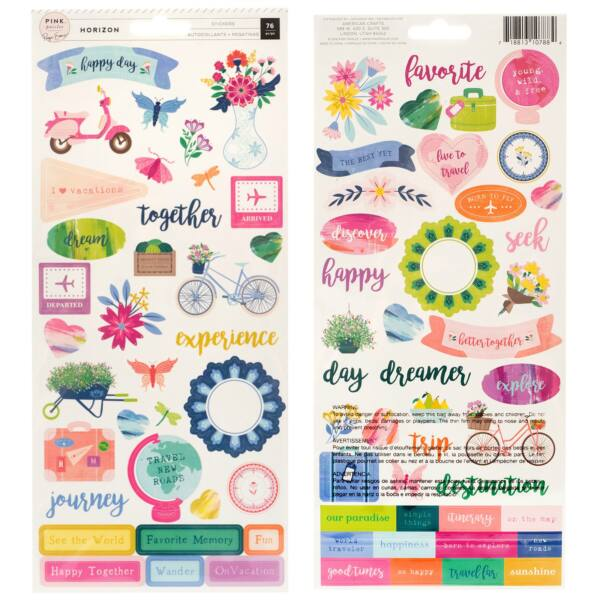 Pink Paislee - Paige Evans - Horizon 6x12 Cardstock Stickers (76 Piece)