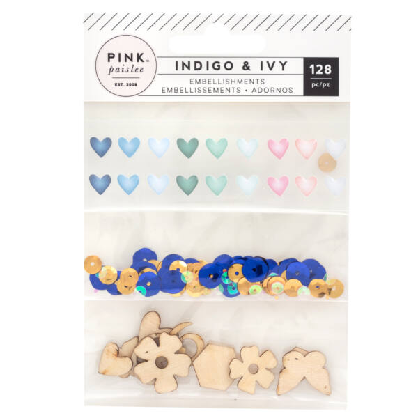 Pink Paislee - Indigo and Ivy Mixed Embellishments (128 Piece)