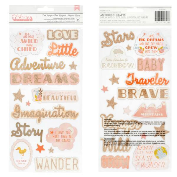 Pink Paislee - Little Adventurer Chipboard Phrase Thickers - Girl (34 Piece)