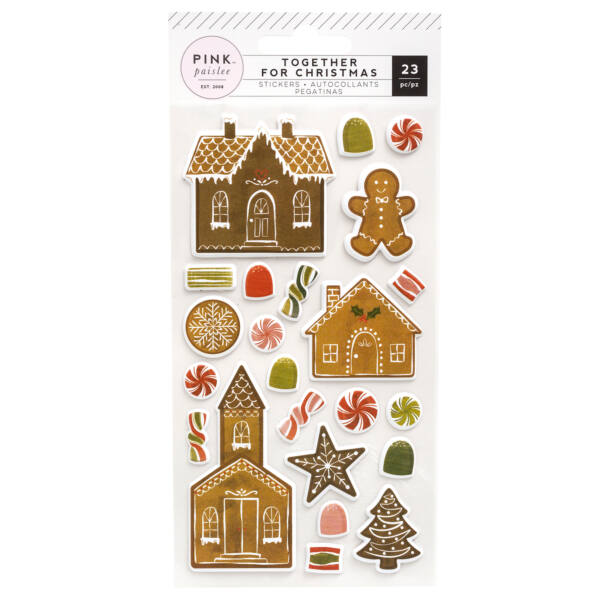 Pink Paislee - Together For Christmas Puffy Stickers - Gingerbread (23 Piece)