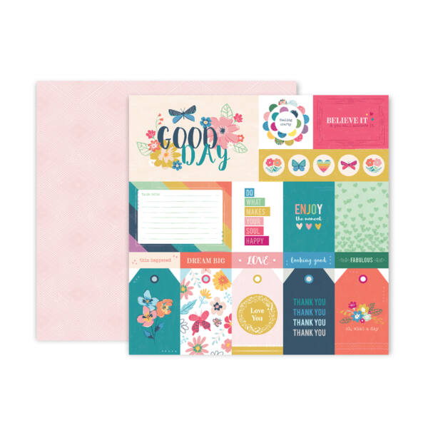 Pink Paislee - Paige Evans Whimsical 12x12 Patterned Paper 01