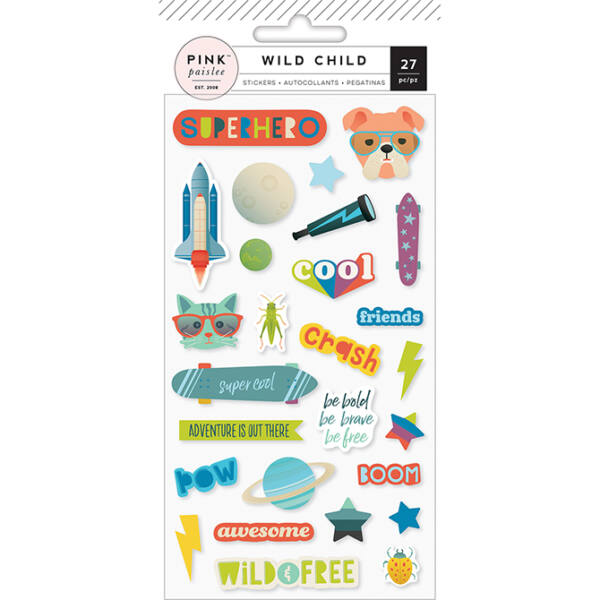 Pink Paislee - Wild Child Puffy Stickers - Boy
