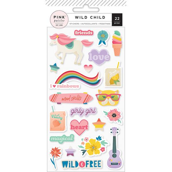 Pink Paislee - Wild Child Puffy Stickers - Girl