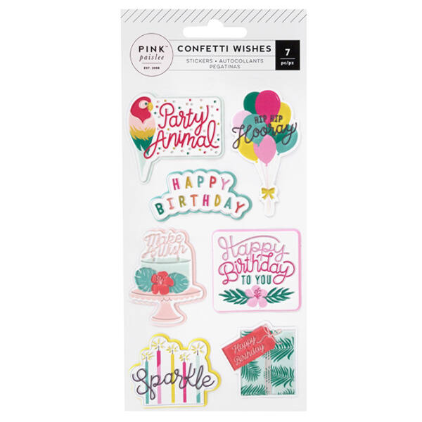Pink Paislee - Confetti Wishes Embossed Puffy Stickers