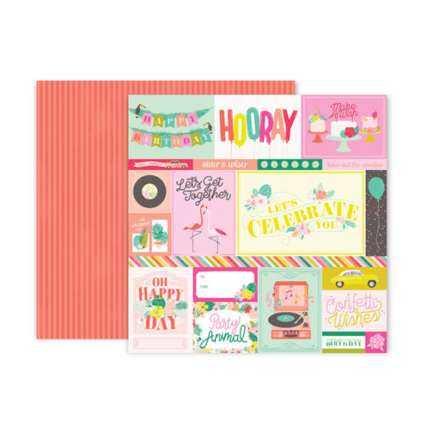 Pink Paislee - Confetti Wishes 12x12 Paper - 1