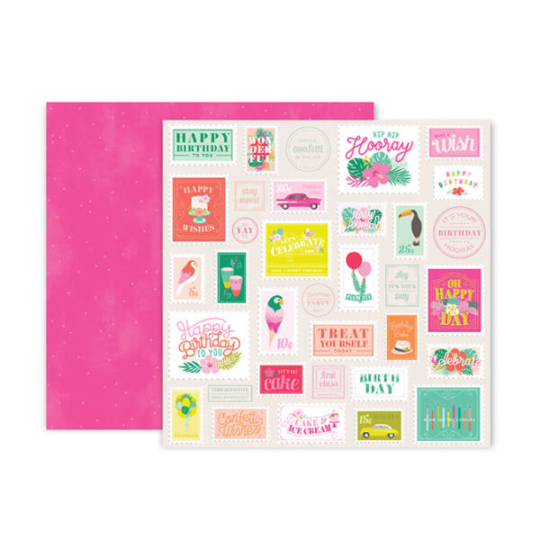 Pink Paislee - Confetti Wishes 12x12 Paper - 6