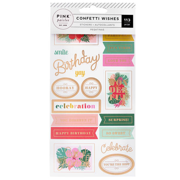 Pink Paislee - Confetti Wishes Stickers Book