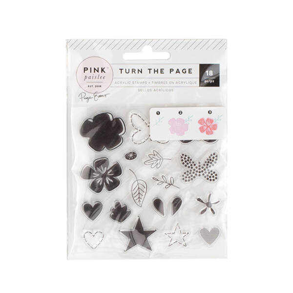 Pink Paislee - Paige Evans - Turn The Page Stamp Set