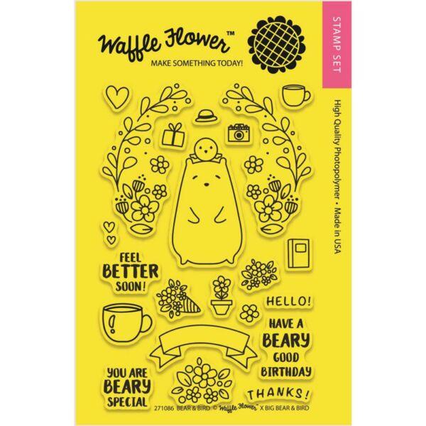 Waffle Flower Clear Stamp - Bear & Bird