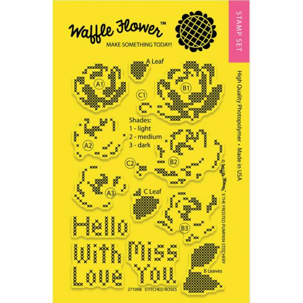Waffle Flower Clear Stamp - Stitched Roses