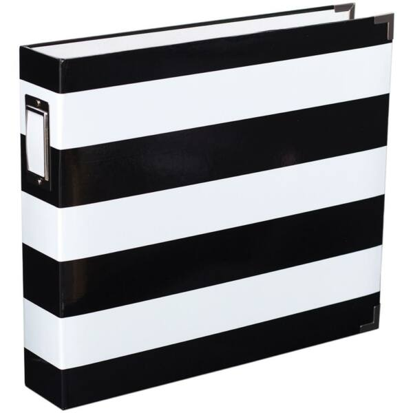 Becky Higgins - Project Life - 12 x 12 Album Black & White Stripe By Heidi Swapp