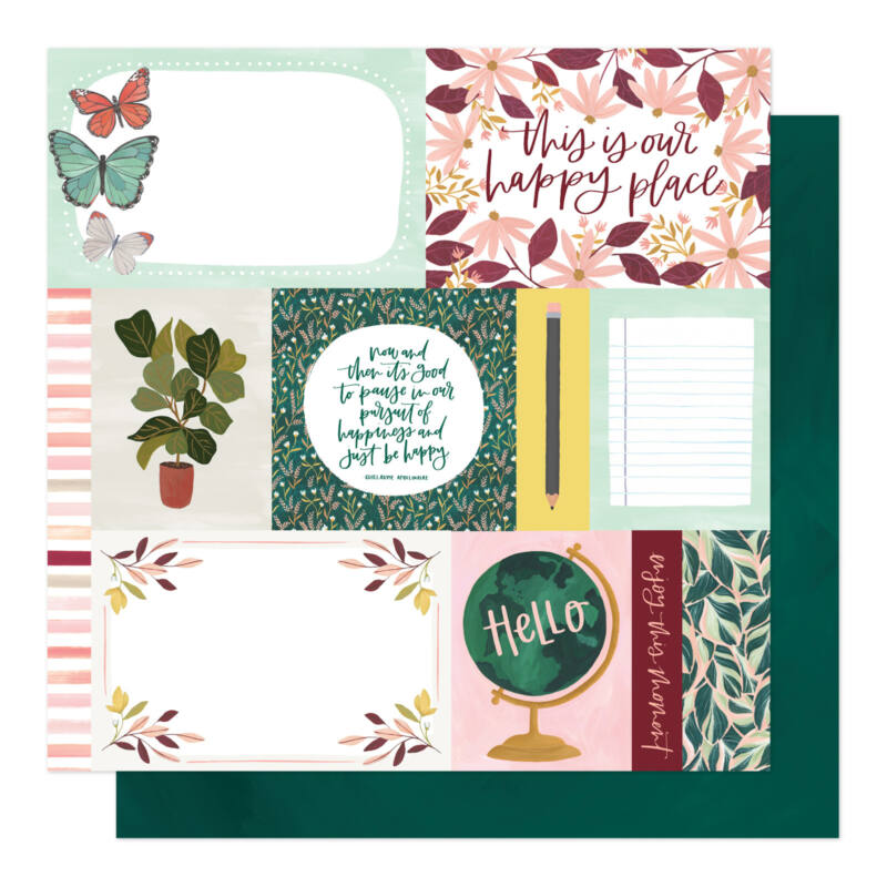 American Crafts - 1Canoe2 - Willow 12x12 Patterned Paper - Happy Home