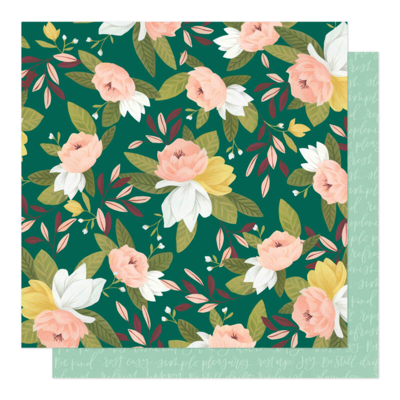 American Crafts - 1Canoe2 - Willow 12x12 Patterned Paper - Ambrose Blooms