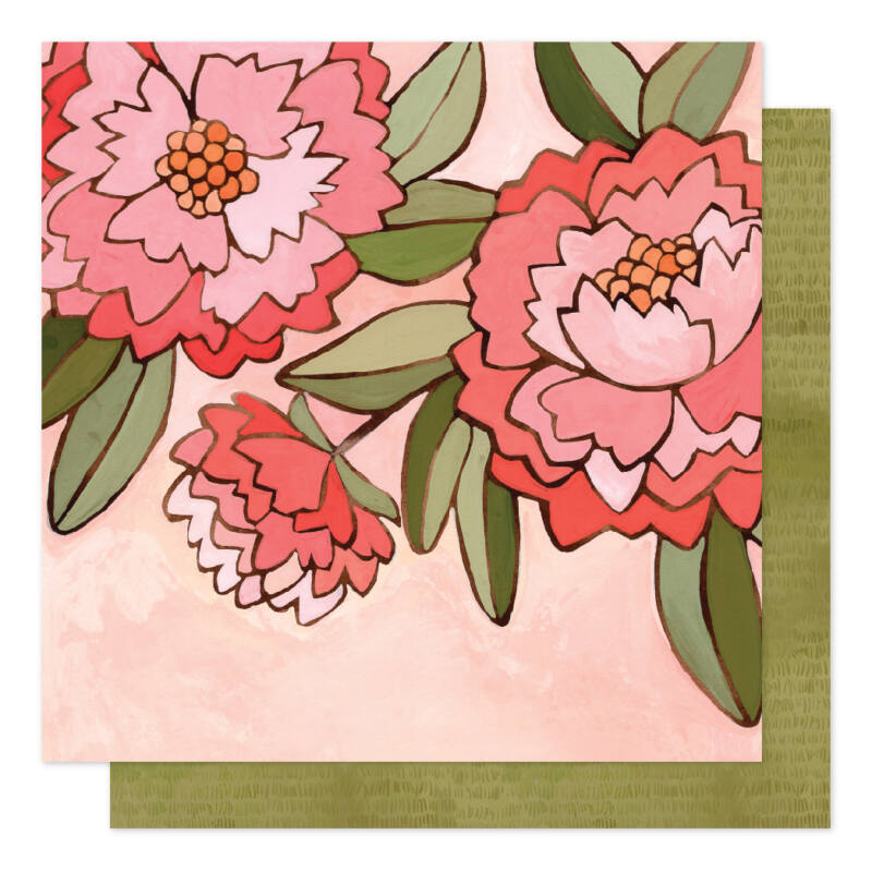 American Crafts - 1Canoe2 Saturday Afternoon 12x12 Patterned Paper - Pink Peony