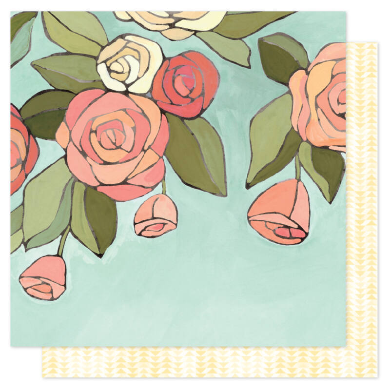 American Crafts - 1Canoe2 Saturday Afternoon 12x12 Patterned Paper - Afternoon Roses