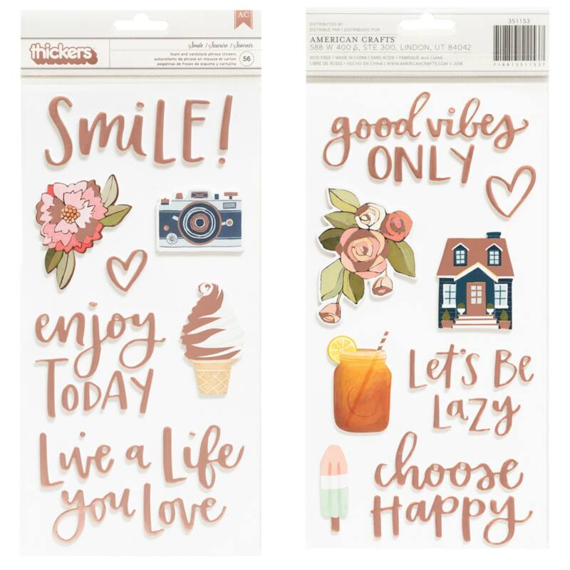 American Crafts - 1Canoe2 Saturday Afternoon Phrase and Icons Thickers - Smile (56 Piece)