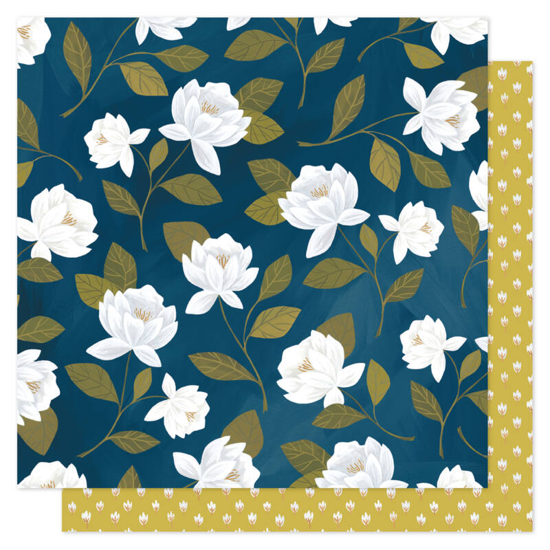 1Canoe2 - Goldenrod 12x12 scrapbooking papir -  Raleigh Floral