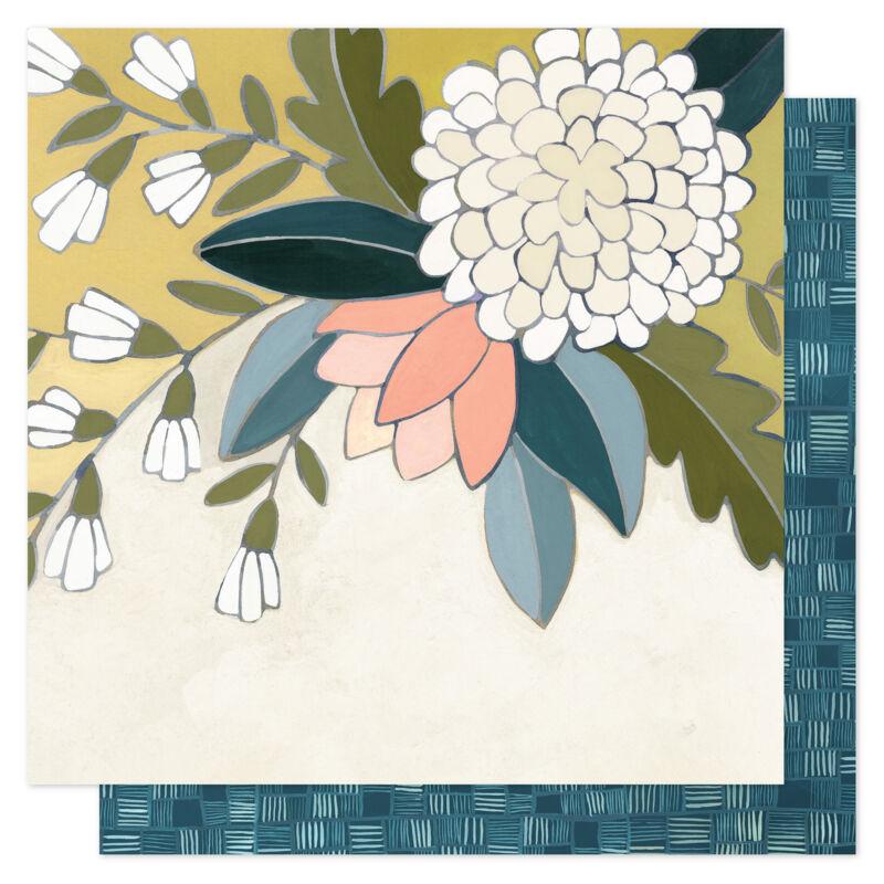 1Canoe2 - Goldenrod 12x12 scrapbooking papir -  Goldenrod Floral