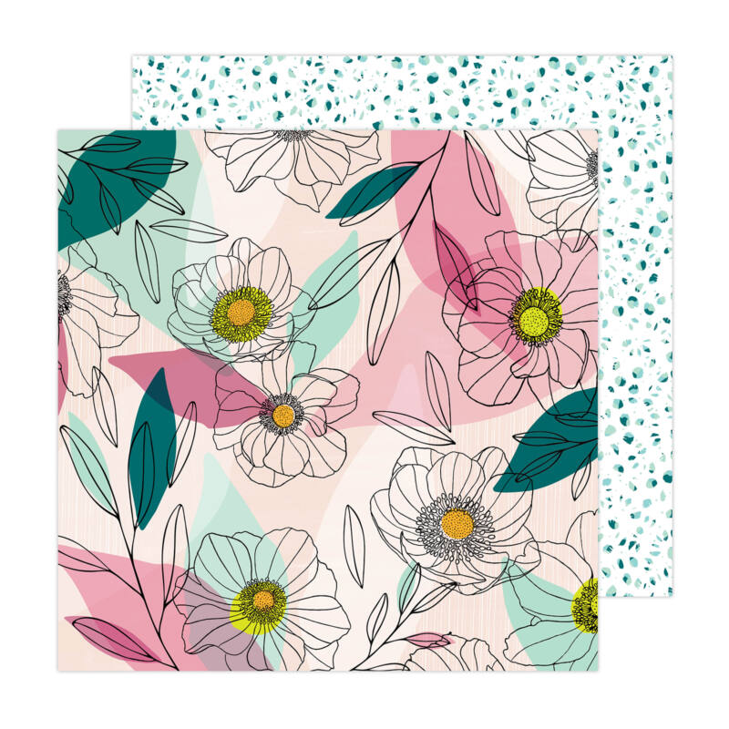 American Crafts - Amy Tangerine - Brave and Bold 12x12 Paper - Anemone