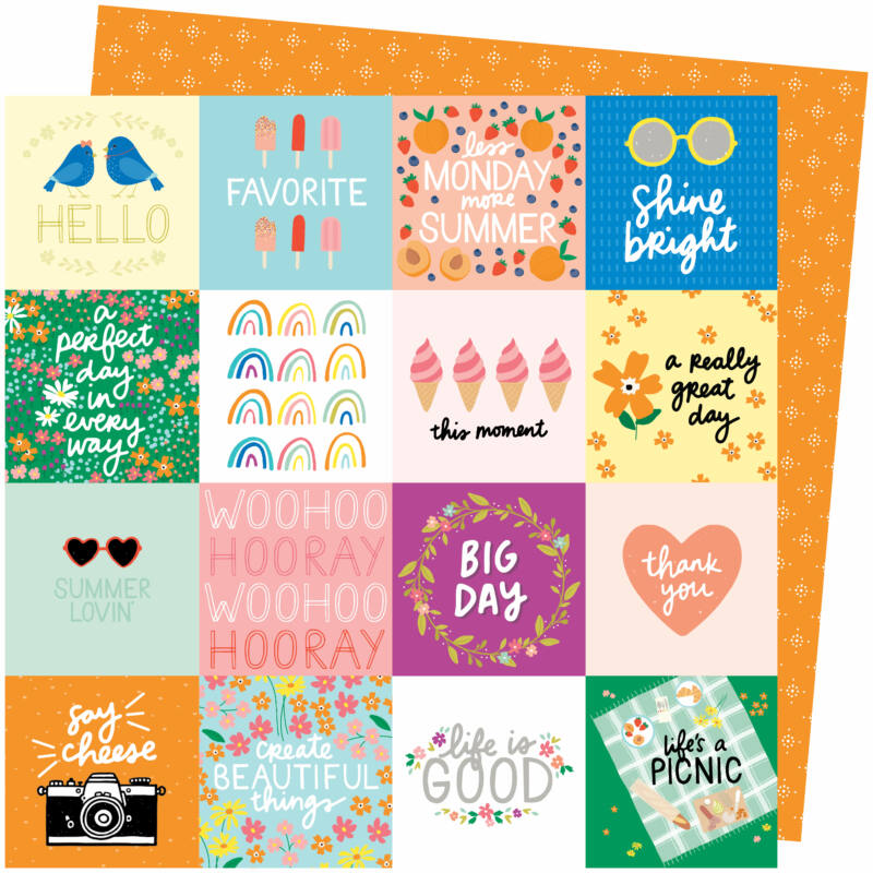 American Crafts - Amy Tangerine - Picnic in the Park 12x12 Paper - Life's a Picnic