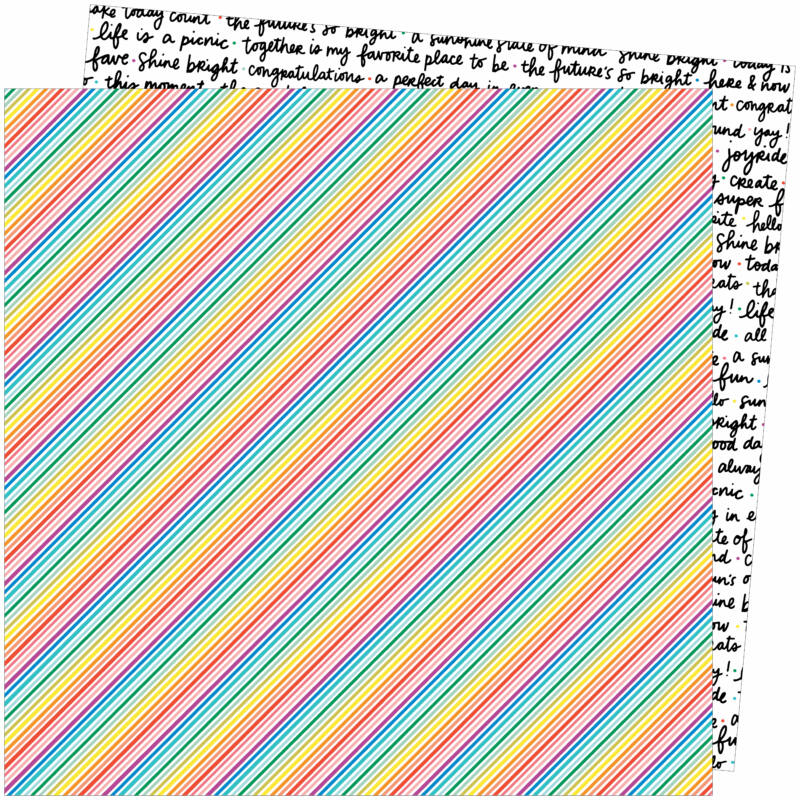American Crafts - Amy Tangerine - Picnic in the Park 12x12 Paper - Bright Lines
