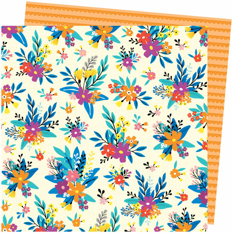 American Crafts - Amy Tangerine - Picnic in the Park 12x12 Paper - Blossom Bouquet