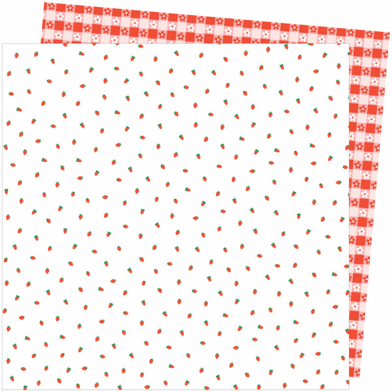 American Crafts - Amy Tangerine - Picnic in the Park 12x12 Paper - Berry Sweet