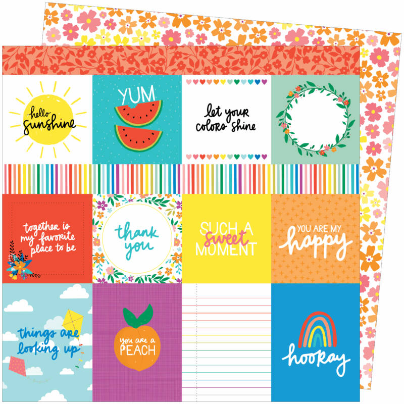 American Crafts - Amy Tangerine - Picnic in the Park 12x12 Paper - You Are My Happy