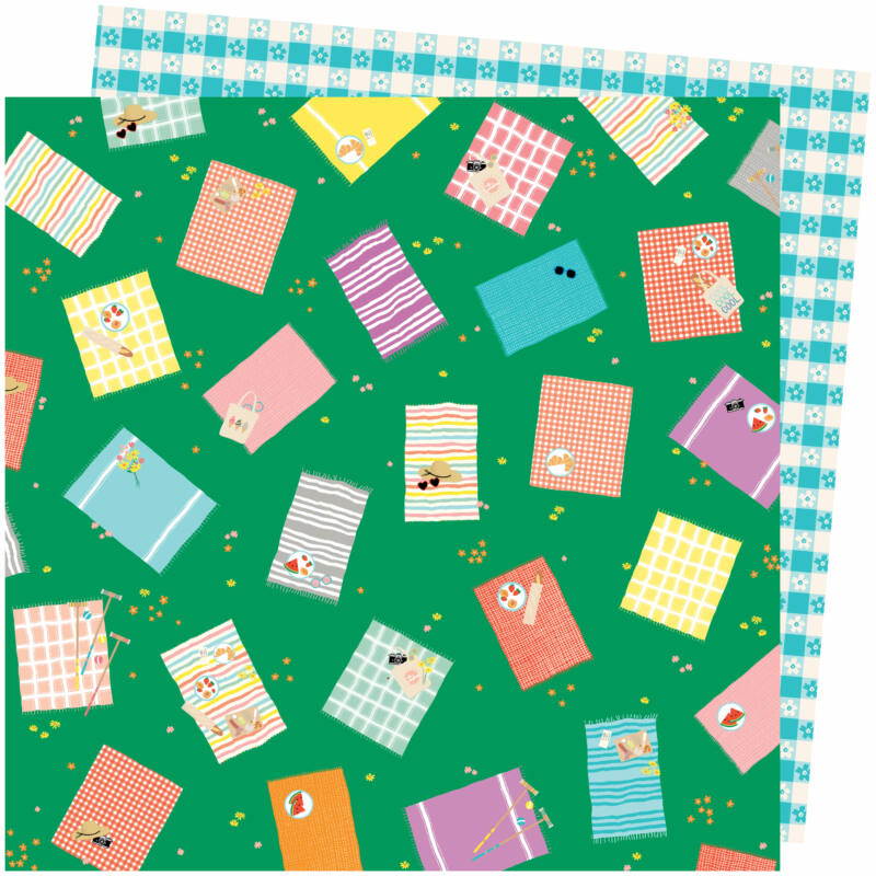 American Crafts - Amy Tangerine - Picnic in the Park 12x12 Paper - From Above