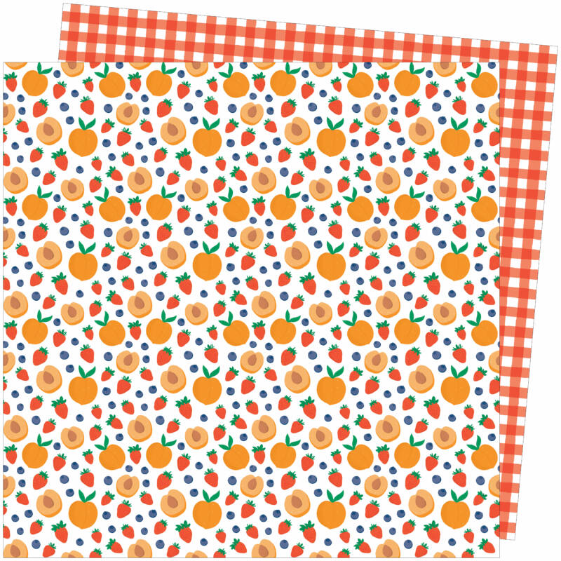 American Crafts - Amy Tangerine - Picnic in the Park 12x12 Paper - Peach Pit