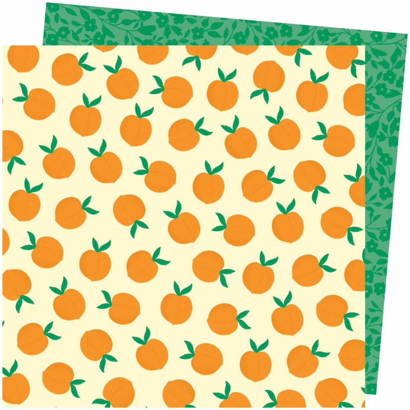 American Crafts - Amy Tangerine - Picnic in the Park 12x12 Paper - You're Peachy