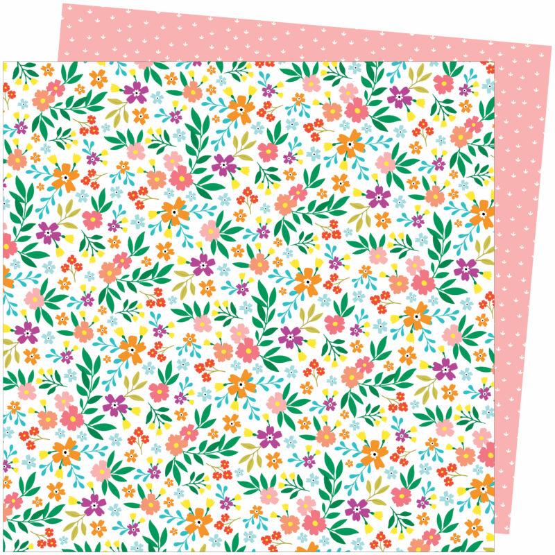 American Crafts - Amy Tangerine - Picnic in the Park 12x12 Paper - Petaluma Petunia
