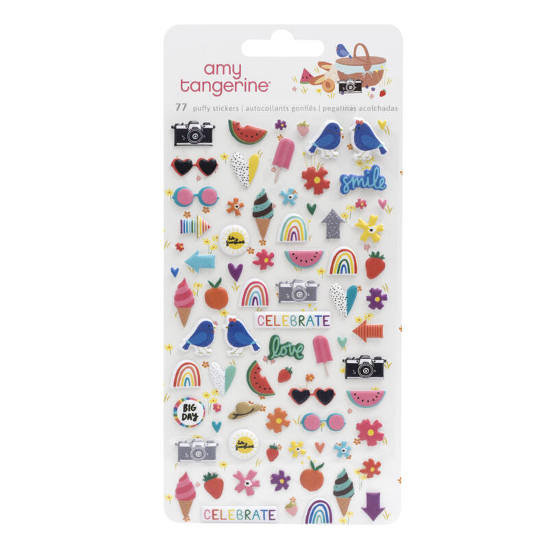 American Crafts - Amy Tangerine - Picnic in the Park Mini Puffy Stickers (77 Piece)
