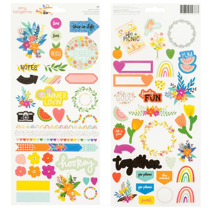 American Crafts - Amy Tangerine - Picnic in the Park 6x12 Sticker Sheet (77 Piece)