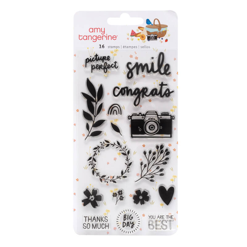 American Crafts - Amy Tangerine - Picnic in the Park Acrylic Stamp (16 Piece)