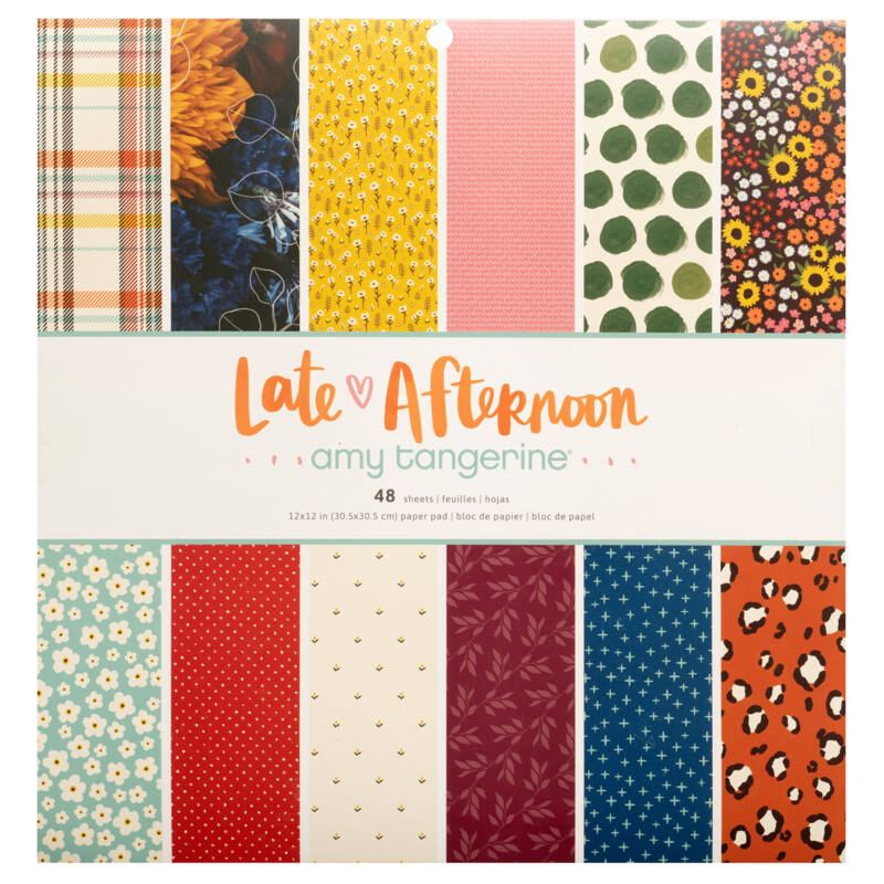 American Crafts - Amy Tangerine - Late Afternoon 12x12 Paper Pad (48 Sheets)