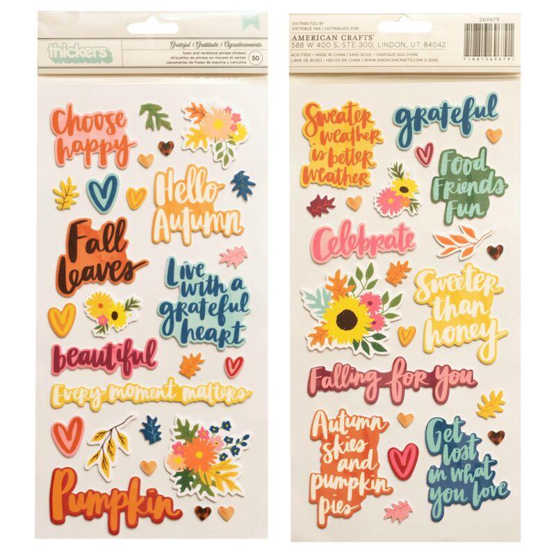 American Crafts - Amy Tangerine - Late Afternoon dekorgumi feliratok - Grateful (50db)