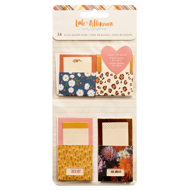American Crafts - Amy Tangerine - Late Afternoon Adhesive Pocket Notes (16 Piece)