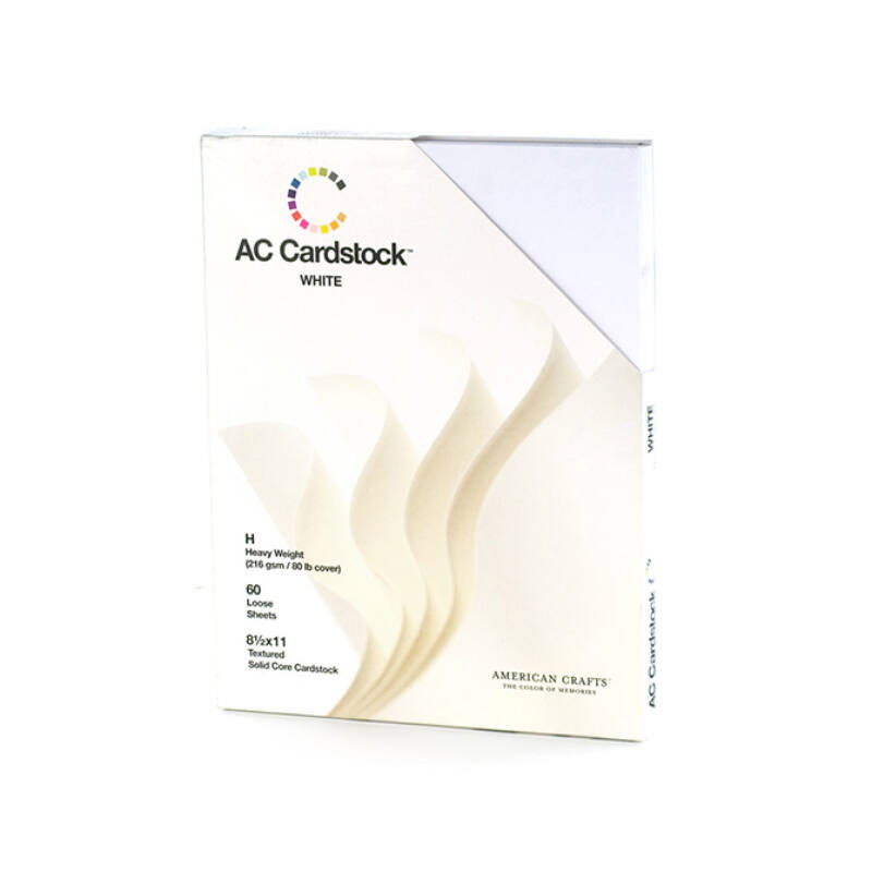 American Crafts - 8.5x11 Textured Cardstock 60 pcs - White