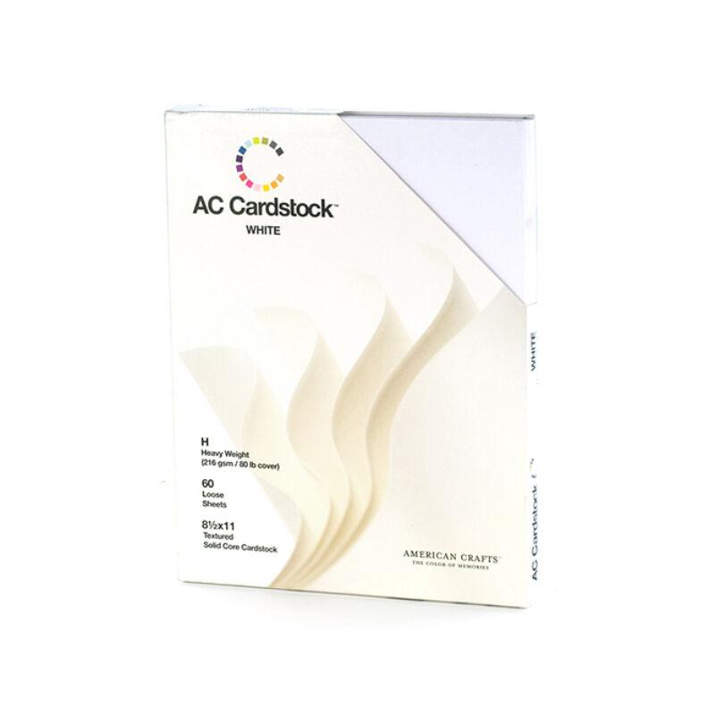 American Crafts - 8.5x11 texturált alapkarton 60db - fehér