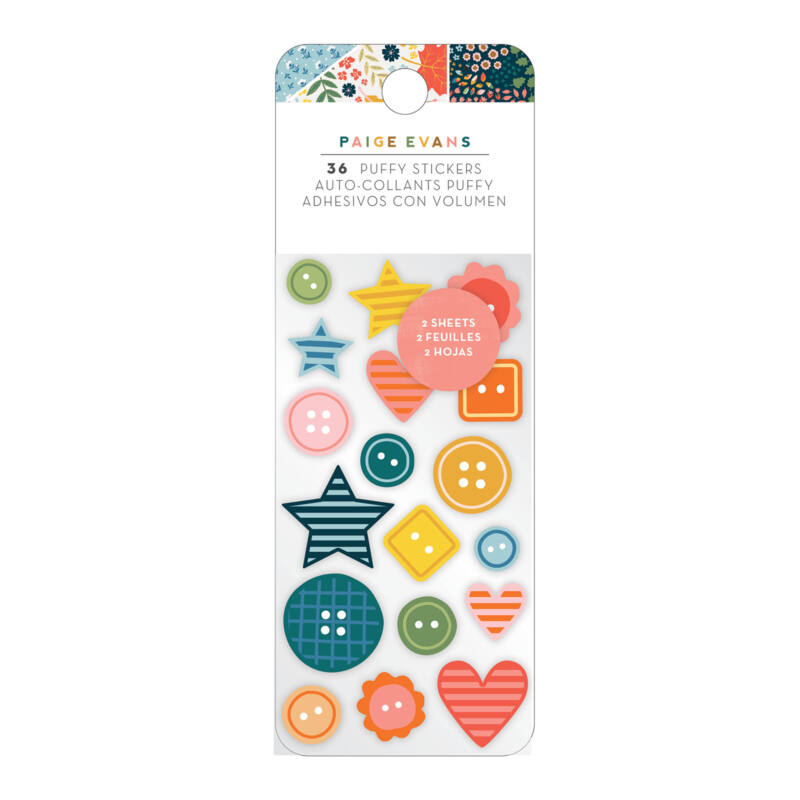 American Crafts - Paige Evans - Bungalow Lane Embossed Puffy Stickers (36 Piece)