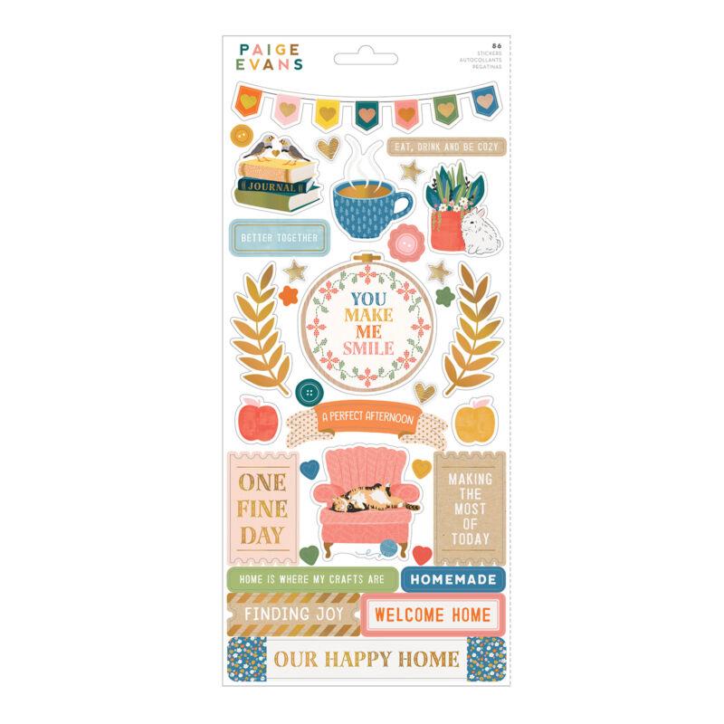 American Crafts - Paige Evans - Bungalow Lane 6x12 Sticker Sheet (86 Piece)