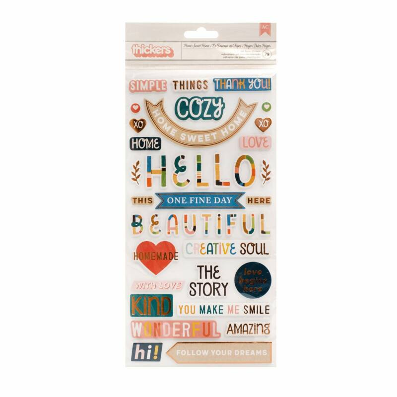 American Crafts - Paige Evans - Bungalow Lane Phrase Thicker - Home Sweet Home (79 Piece)