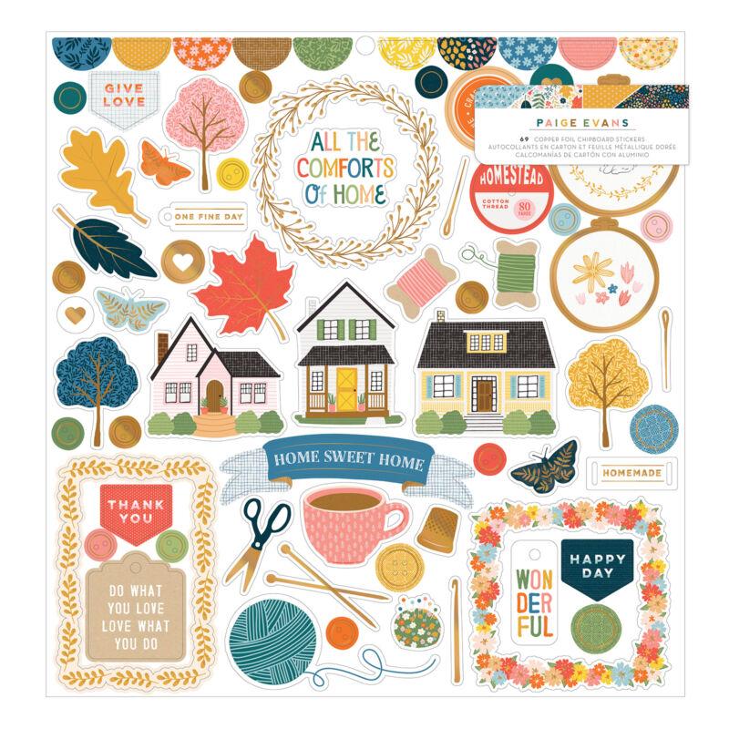 American Crafts - Paige Evans - Bungalow Lane 12x12 Chipboard Sticker (69 Piece)