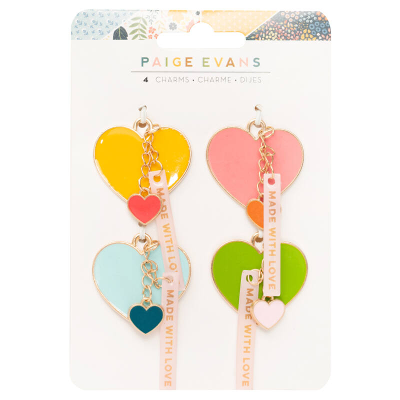 American Crafts - Paige Evans - Bungalow Lane Resin Heart Charms (4 Piece)