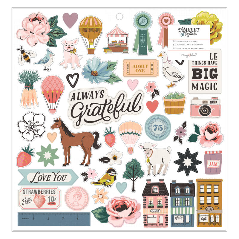 American Crafts - Maggie Holmes - Market Square 12x12 Chipboard Stickers (51 Piece)